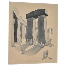 "William O'Brian New Yorker Cartoonist Original ""Stonehenge"" Cartoon c.1950s"