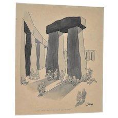"William O'Brian New Yorker Cartoonist Original ""Stonehenge"" Cartoon c.1950s"