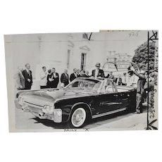 John F. Kennedy Lincoln X-100 Limousine Press Photo c.1963