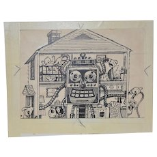 Original Early Computer Cartoon from the San Francisco Chronicle c.1980