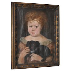 """Charming 19th Century """"Girl w/ Dog"""" Oil Painting"""