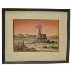 """Forrest Hibbits """"Country Farm"""" Oil Painting c.1970s"""
