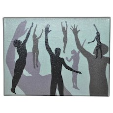 "Vintage Early 70s Oil Painting Shadow Dance"" by Charles Hersey"