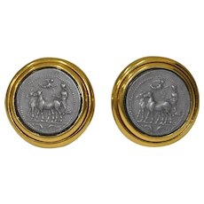 Pair of Decorative Roman Classical Clip-On Earrings