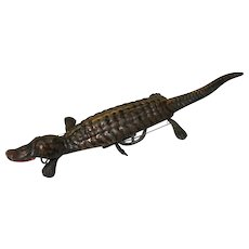 Vintage Wind-Up Tin Crocodile Toy c.1940s to 1950s