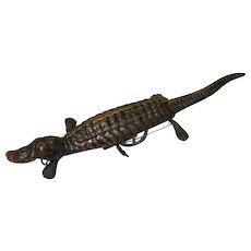 Vintage Wind-Up Tin Crocodile Toy c.1940s to 1950s