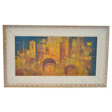 Mid Century Modern Abstract Cityscape Oil Painting c.1950s