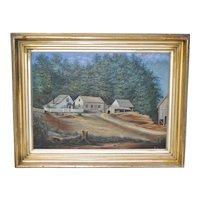 19th C. California Mill Yard Oil Painting