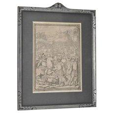 """Giovanni Battista Franco (1510-1561) """"Battle Scene"""" Etching 16th C."""