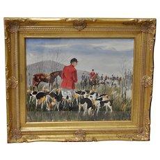 English Fox Hunt Watercolor by Hal Werneke c.1967