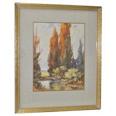 Davis Francis Schwartz California Landscape  Watercolor c.1930s