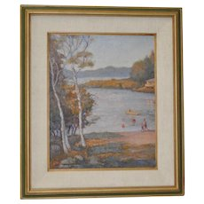 A Summer Day at the Lake Oil Painting by Irving Bookstein c.1950s