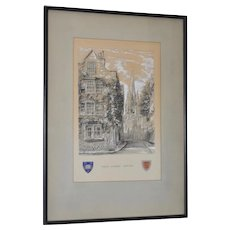 "Oriel Street, Oxford Original Illustration ""Dominus Illuminatio mea"" c.1953"