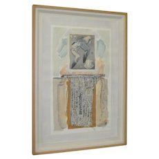 """Vintage Stanley Grosse Mixed Media painting from his """"Pajaro Series""""."""