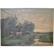 """19th C. Dutch Landscape """"Milking the Cows"""" Original Oil Painting by Frederiksen"""