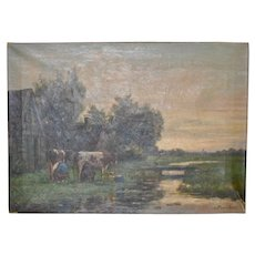 "19th C. Dutch Landscape ""Milking the Cows"" Original Oil Painting by Frederiksen"