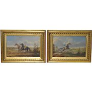 Pair of Early 20th C. Equestrian Themed Oil Paintings