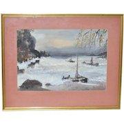 "Vintage ""Crashing Waves"" Watercolor c.1930s"