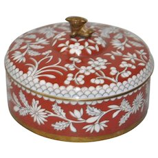 Cloisonne Round Box w/ Lid & Foo Dog Topper c.1920s