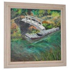 Vintage Oil Painting River Landscape w/ Boat