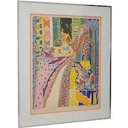 "Gloria Vanderbilt Pencil Signed Color Lithograph ""Seated Woman"" c.1972"