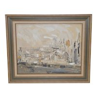 Maurice Lapp (1925-2014) Mid Modern Abstract Cityscape c.1950s