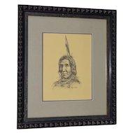 "Ray Swanson (1937-2004) ""Native American"" Original Pen & Ink c.1960s"