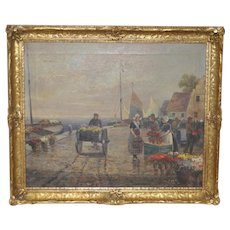 "19th C. Oil Painting ""Dutch Flower Vendors"""
