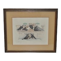 Gaston Hoffman (1883-1960) Pencil Signed Color Etching c.1930s