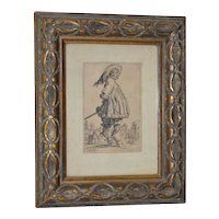 """Jacques Callot """"The Musketeer"""" Engraving from the Les Nobles Series 18th to 19th C."""