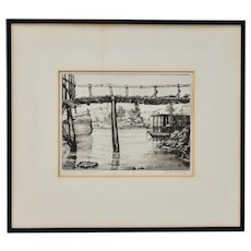 "Nicholas Dunphy ""Old Bridge at Hunters Point"" San Francisco Etching c.1930s"