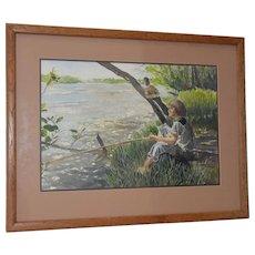 """Vintage Watercolor """"Fishing Day"""" by Joe Truesdale c.1970s"""