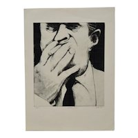 "Gerson Leiber ""Man Smoking"" Etching w/ Aquatint c.1985"
