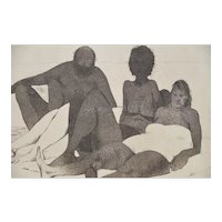 "Serge Hollerbach (b.1923) ""Sunbathers"" Etching w/ Aquatint c.1985"