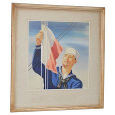 "Warren Sheppard (1858-1937) ""Sailor Raising the Flag"" Watercolor c.1926"