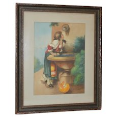 """Early 20th Century Watercolor """"Roman Girl at a Fountain"""" After Leon Bonnat"""