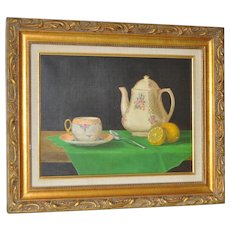 Still Life Oil Painting w/ Tea Pot & Lemon by Basuino