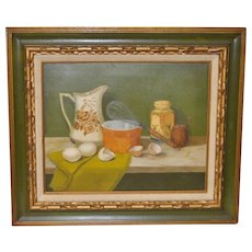 """Culinary Still Life Oil Painting """"Mixing Eggs"""" by Basuino"""