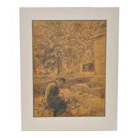 Remarkable Impressionist Graphite on Paper after Van Gogh c.1930