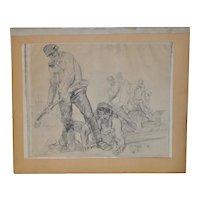 "WPA Era Sketch ""Railroad Workers"" by T.S. c.1930s"