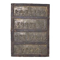 Four Mounted Classical Greek Embossed Bronze Panels c.1880s