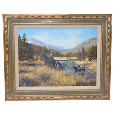 "Wilma Huston ""September Hunt"" Original Oil Painting c.1970s"