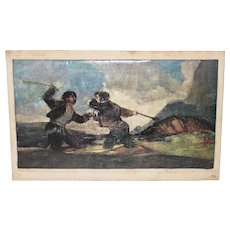 "Goya's ""Fight with Cudgels"" Vintage Print on Canvas"
