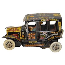 "Marx Wind-Up ""Old Jalopy"" Vintage Tin Toy w/ Lithograph c.1950s"
