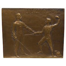 E. Robert Merignac Bronze Fencing Medallion c.1910