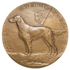 Irish Setters Club of America Bronze Medallion by Laura Garden Fraser c.1922 / 1954