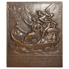 St. Louis Exposition Bronze Plaque by Louis-Aleandre Bottee c.1904