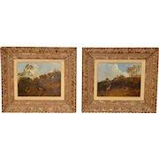 Pair of Early 20th C. Pheasant Hunt Oil Paintings