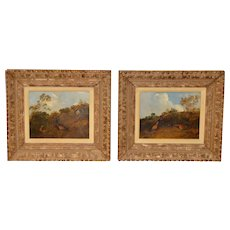 Pair of Early 20th C. Pheasant Hunt Oil Paintings