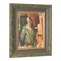 """Vintage Oil Portrait """"Woman in Green Coat"""""""